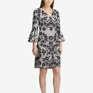 DKNY Women's Black Geometric Floral Zippered Dress